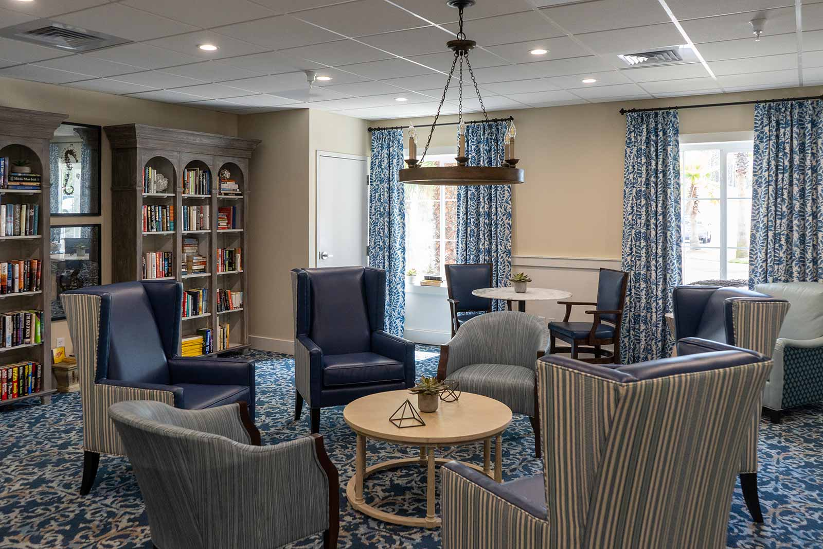 Library With Comfortable Chairs And Couches For Reading At Seagrass Village Of Panama City Beach